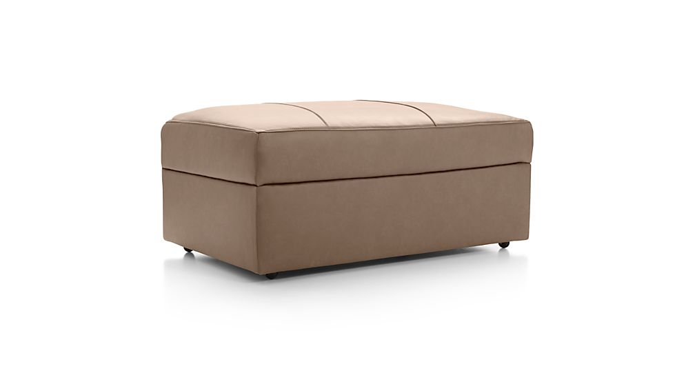 Lounge II Petite Leather Storage Ottoman with Casters