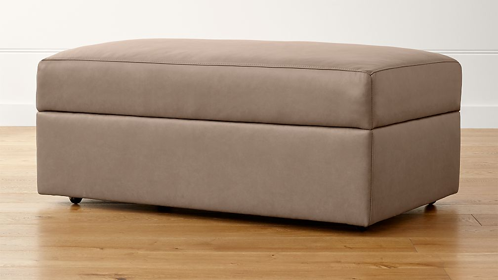 Lounge II Petite Leather Storage Ottoman with Casters - Image 1 of 3