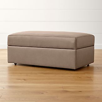 High Quality Lounge II Leather Storage Ottoman With Casters