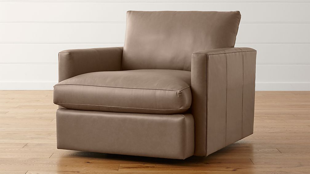 lounge ii petite leather swivel chair | crate and barrel