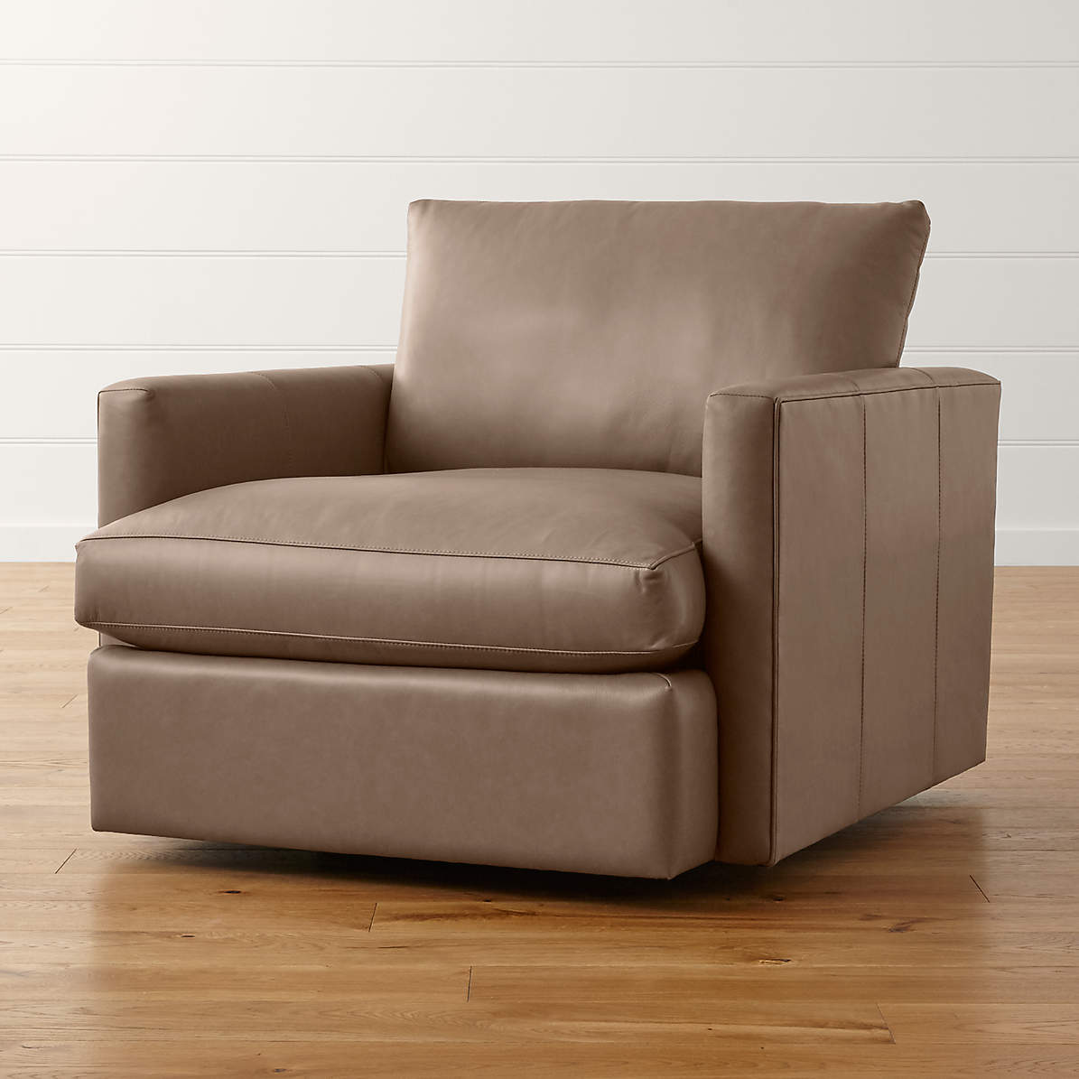 Lounge Ii Small Leather Swivel Chair Reviews Crate And Barrel