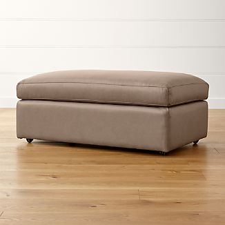 Lounge II Leather Ottoman and a Half with Casters