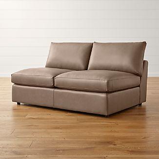 Lounge II Petite Leather Armless Loveseat