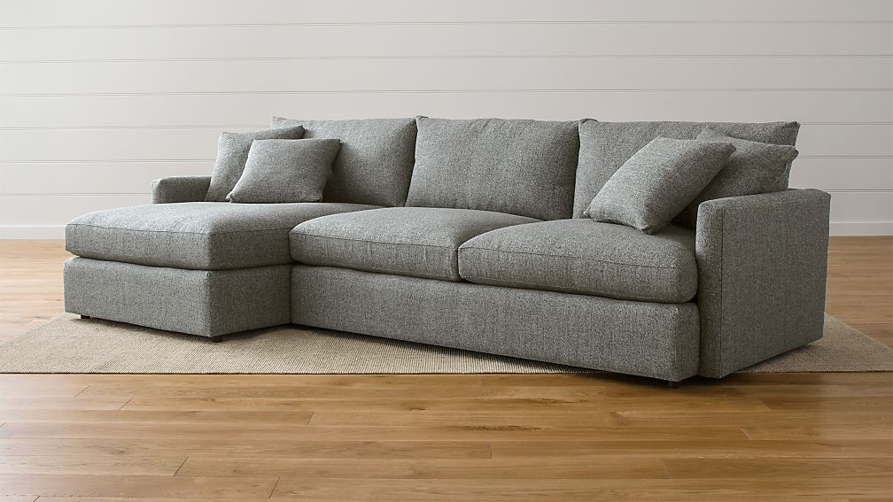 Lounge II Steel Grey Sectional Sofa + Reviews | Crate and Barrel
