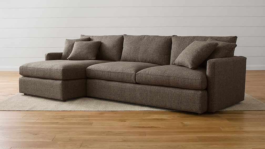 Lounge II Grey Chaise Lounge Sectional + Reviews | Crate and Barrel