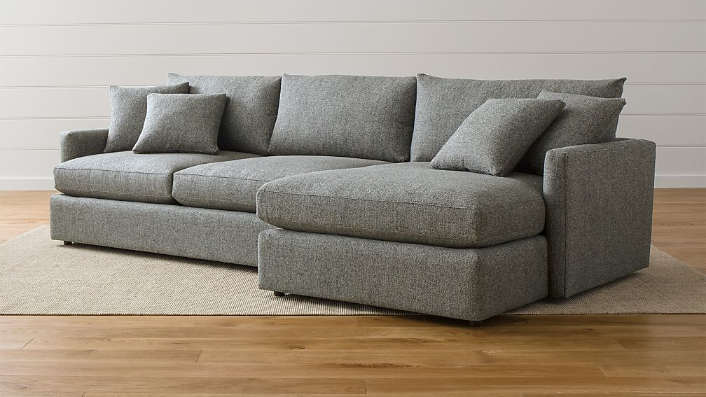 Lounge Ii Light Grey Fabric Sectional Sofa Crate And Barrel