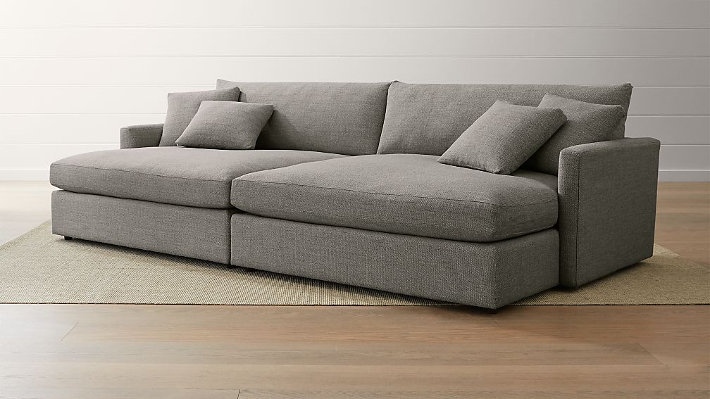 Double chaise sofa large 3pc sectional sofa w double for 3pc sectional with chaise