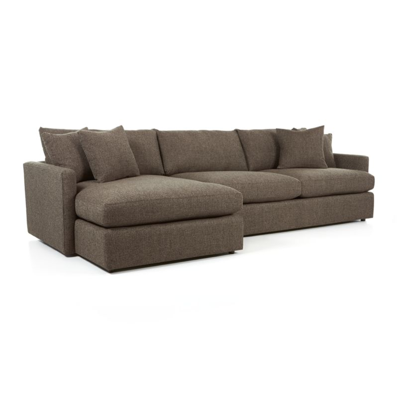 Lounge II Grey Chaise Lounge Sectional Crate and Barrel