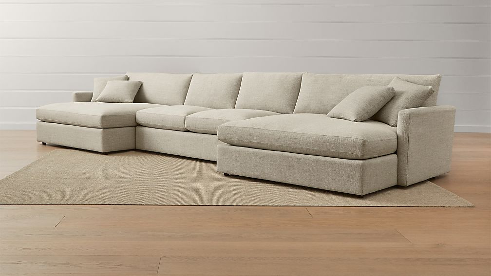 Double chaise sectional sofa large 3pc sectional sofa w for 3pc sectional with chaise