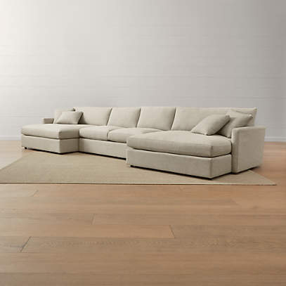 Lounge Ii 3 Piece Double Chaise Sectional Sofa Reviews Crate And Barrel