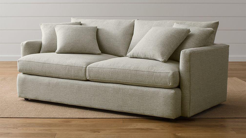 "Lounge II 83"" Sofa Taft: Cement | Crate and Barrel"