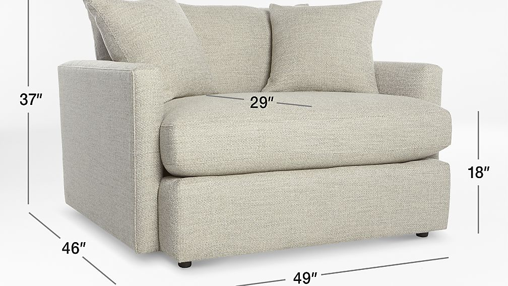 TAP TO ZOOM Image With Dimension For Lounge II Chair And A Half