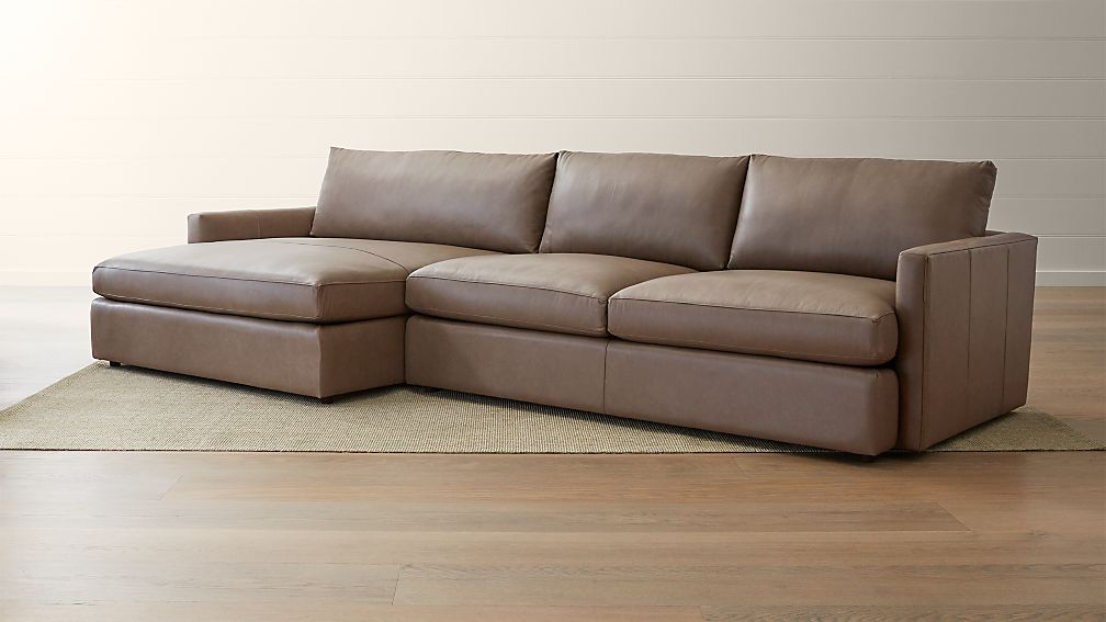 Lounge Ii Leather 2 Piece Left Arm Double Chaise Sectional Sofa