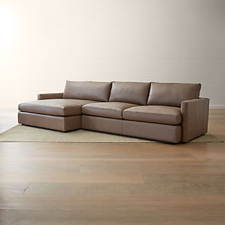 Lounge II Leather 2-Piece Left Arm Double Chaise Sectional Sofa