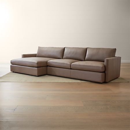 Lounge II Petite Leather 2-Piece Left Arm Double Chaise Sectional Sofa |  Crate and Barrel