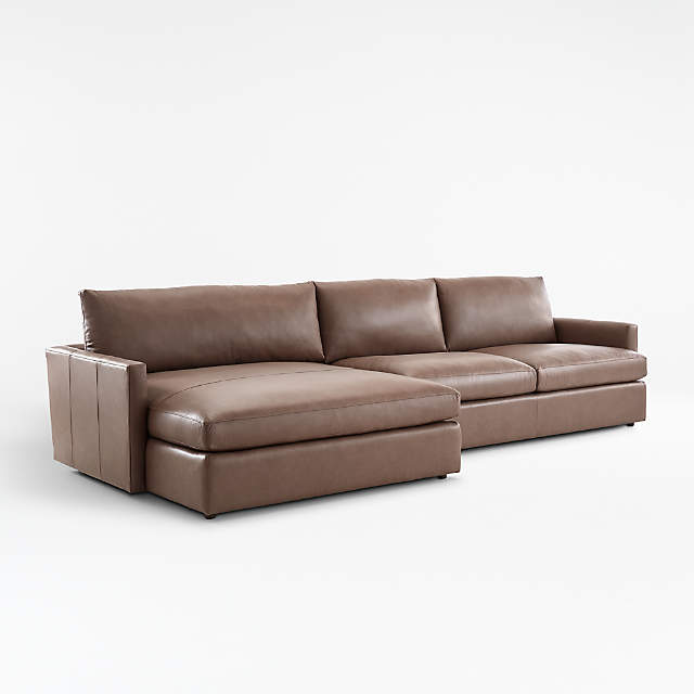 Lounge Ii Leather 2 Piece Double Chaise Sectional Sofa Crate And Barrel