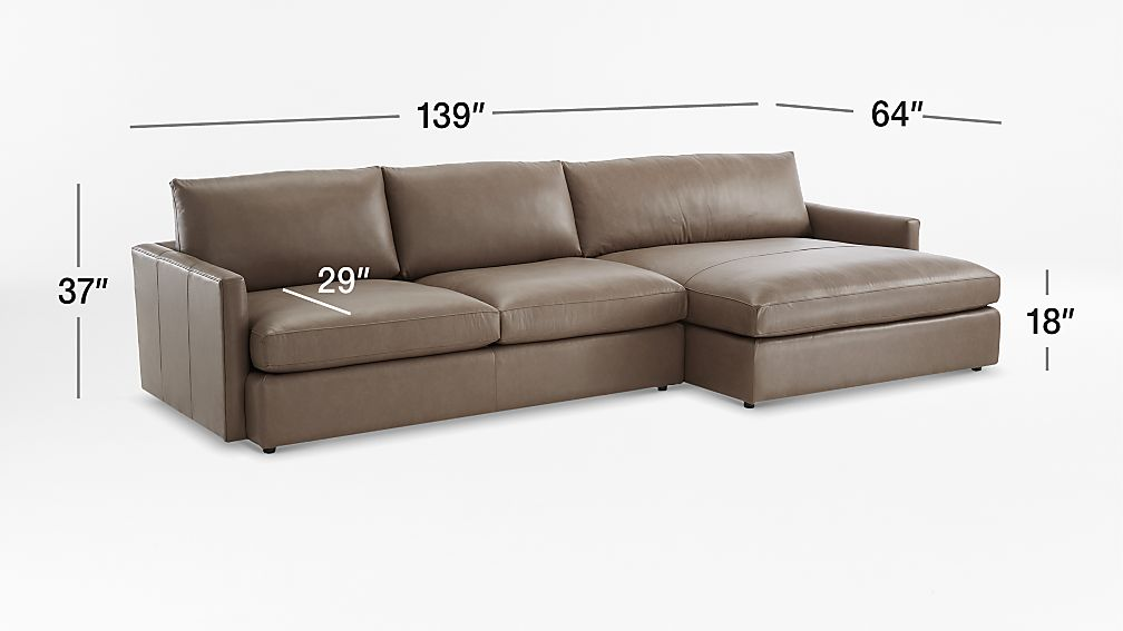 TAP TO ZOOM Image with dimension for Lounge II Leather 2-Piece Right Arm Double Chaise Sectional Sofa