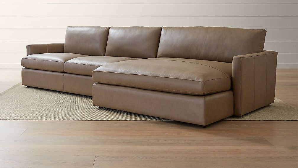 Amazing Lounge II Petite Leather 2 Piece Right Arm Double Chaise Sectional Sofa ...