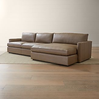 Lounge II Petite Leather 2 Piece Right Arm Double Chaise Sectional Sofa. Small Living Room Furniture   Crate and Barrel