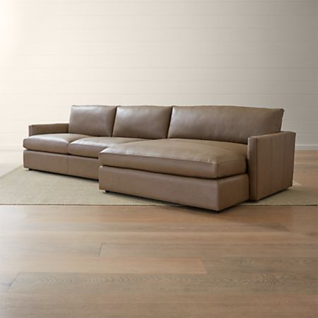 Lounge II Leather 2-Piece Right Arm Double Chaise Sectional Sofa | Crate  and Barrel