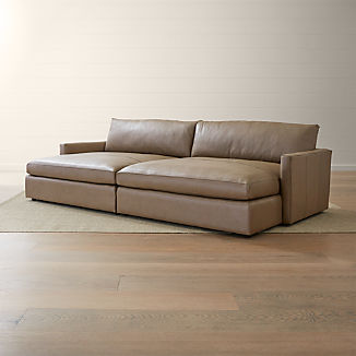 Lounge II Leather 2-Piece Double Chaise Sectional Sofa