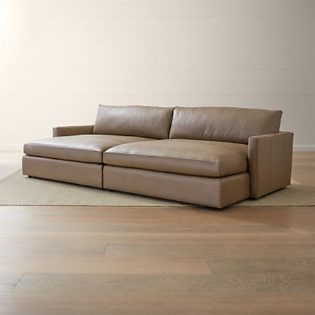 Lounge II Leather 2-Piece Double Chaise Sectional Sofa + Reviews | Crate  and Barrel