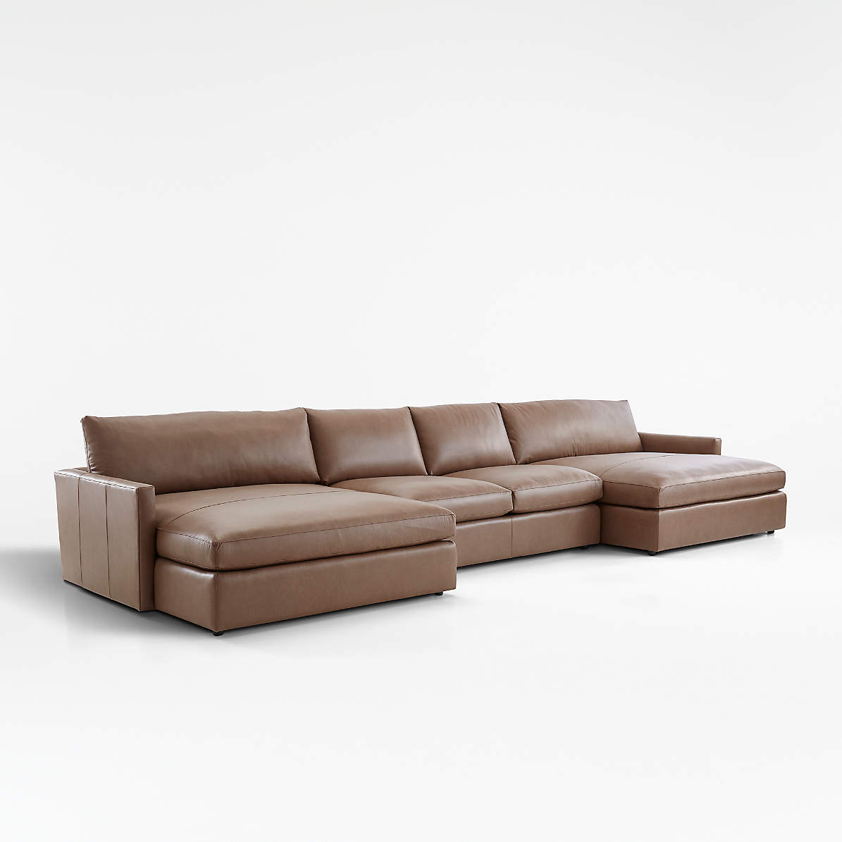 Lounge Ii Leather 3 Piece Double Chaise Sectional Sofa Crate And Barrel