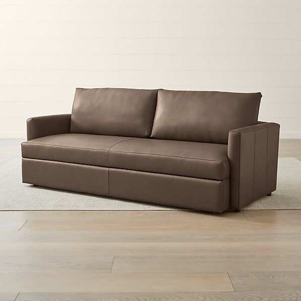 Lounge II Petite Leather Queen Trundle Sleeper   Crate and Barrel