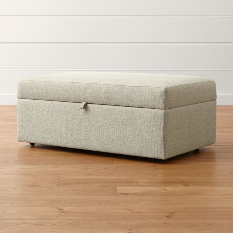 Lounge II Light Grey Storage Ottoman Crate and Barrel