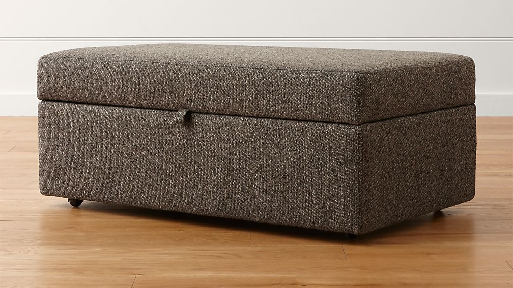 Lounge Ii Brown Grey Storage Ottoman Crate And Barrel