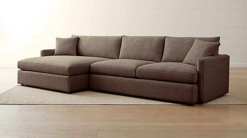 Lounge Ii Pee 2 Piece Left Arm Double Chaise Sectional Sofa Reviews Crate And Barrel