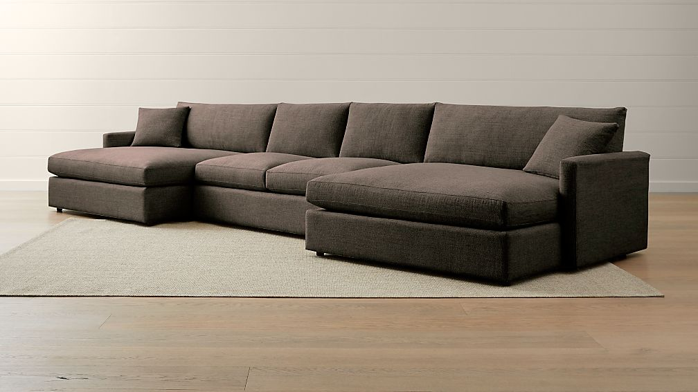 Lounge II Petite 3-Piece Double Chaise Sectional Sofa + Reviews | Crate and  Barrel