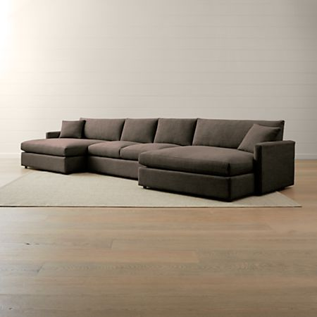 Lounge II Petite 3-Piece Double Chaise Sectional Sofa | Crate and Barrel