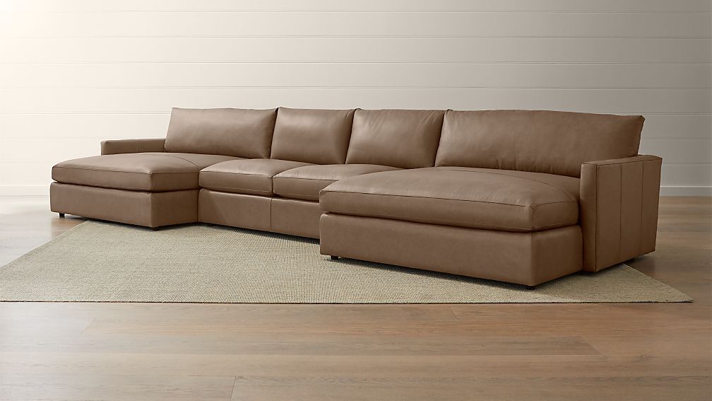 Lounge II Petite Leather 3-Piece Double Chaise Sectional ...