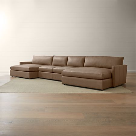 Lounge II Petite Leather 3-Piece Double Chaise Sectional Sofa | Crate and  Barrel