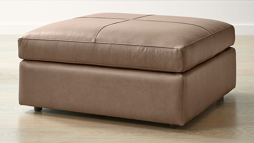 Lounge II Petite Leather Square Cocktail Ottoman - Image 1 of 5