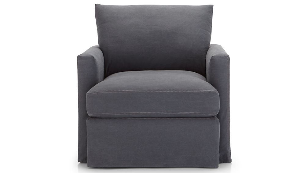 Lounge II Petite Slipcovered 360 Swivel Chair