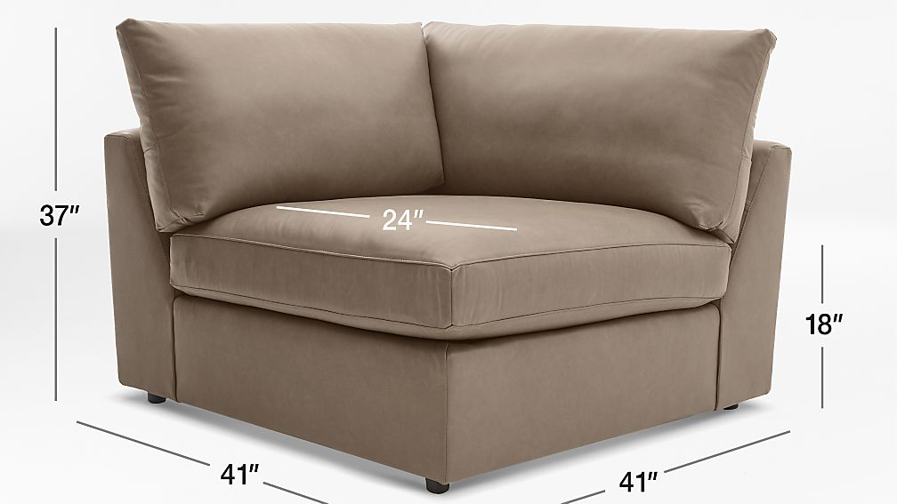 Tap To Zoom Image With Dimension For Lounge Ii Petite Leather Corner Chair