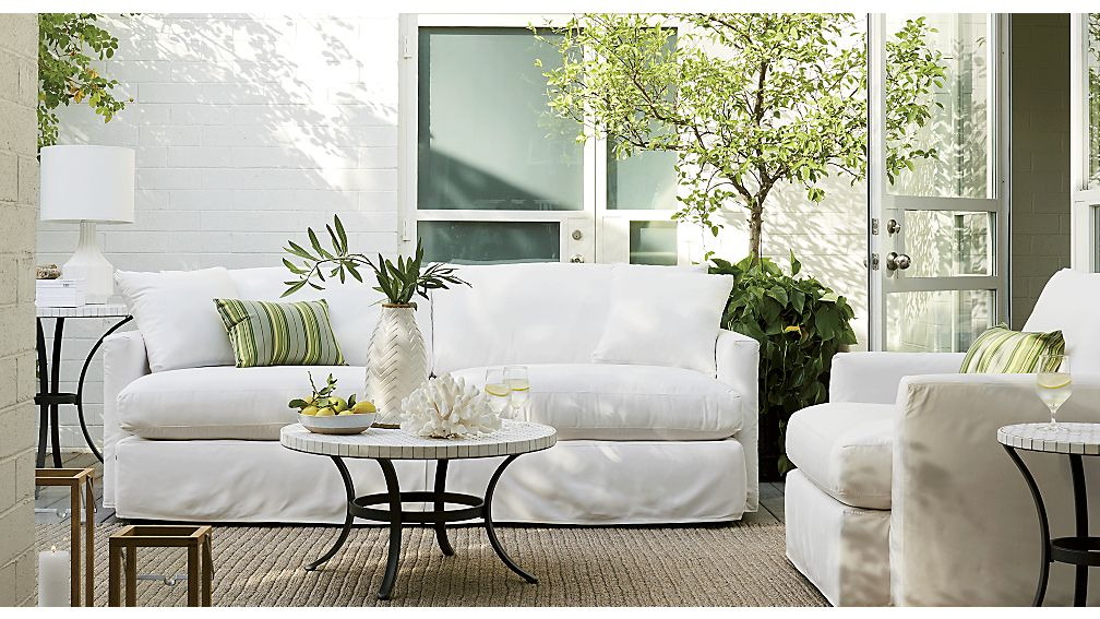"Lounge II Petite Outdoor Slipcovered 93"" Sofa Sundial"