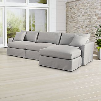Lounge II Petite Outdoor Slipcovered 2-Piece Right Arm Chaise Sectional
