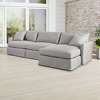 Lounge II Petite Outdoor Slipcovered 2 Piece Right Arm Chaise Sectional