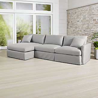 Lounge II Petite Outdoor Slipcovered 2-Piece Left Arm Chaise Sectional