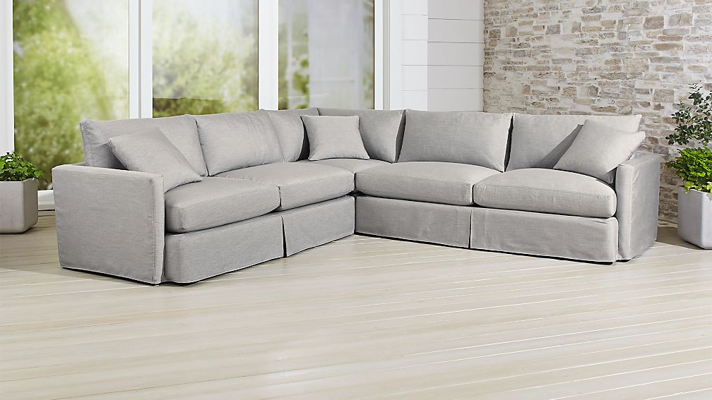 Lounge II Petite Outdoor Slipcovered 3 Piece Sectional ...