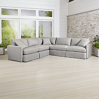 Lounge II Petite Outdoor Slipcovered 3-Piece Sectional