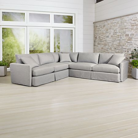 Lounge II Petite Outdoor Slipcovered 3-Piece Sectional | Crate and Barrel