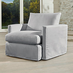 lounge ii petite outdoor slipcovered 360 swivel chair crate and barrel. Black Bedroom Furniture Sets. Home Design Ideas