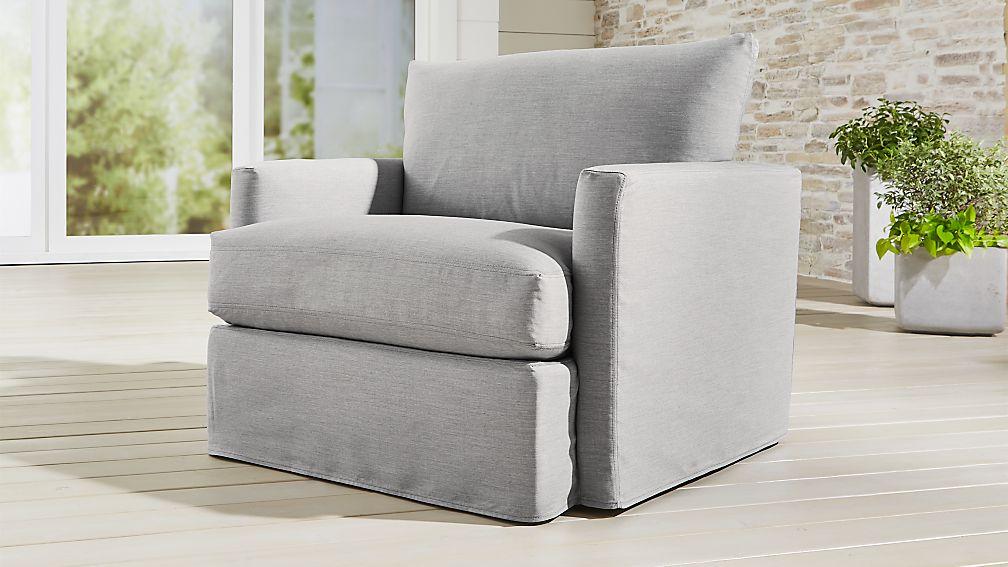 Lounge II Petite Outdoor Slipcovered 360 Swivel Chair - Image 1 of 7