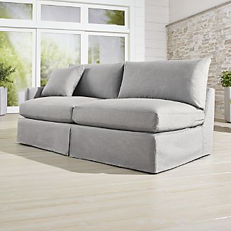 Lounge II Petite Outdoor Slipcovered Left Arm Sofa