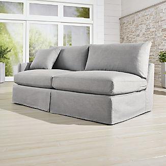 Lounge II Petite Outdoor Slipcovered Left Arm Sofa