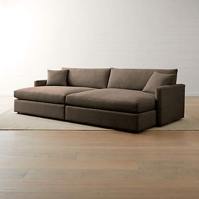 lounge ii petite 2 piece double chaise sectional sofa crate and barrel